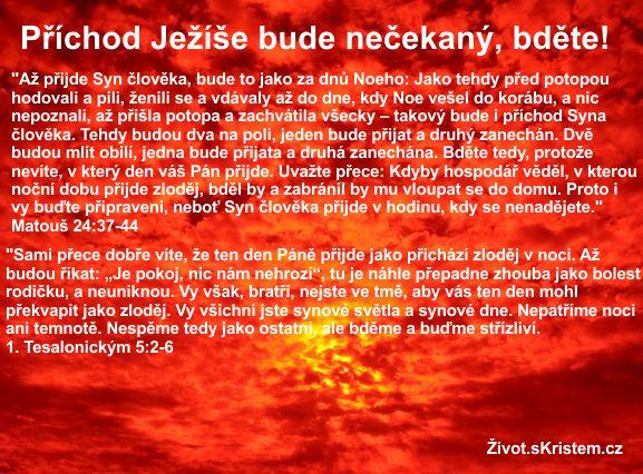 Příchod Ježíše bude nečekaný, bděte!